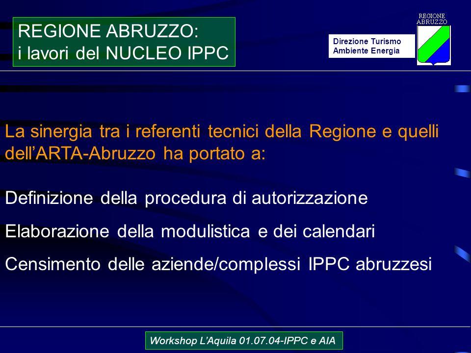 Direzione Turismo Ambiente Energia Workshop LAquila 01.07.04-IPPC e AIA La sinergia tra i referenti tecnici della Regione e quelli dellARTA-Abruzzo ha portato a: Definizione della procedura di autorizzazione Elaborazione della modulistica e dei calendari Censimento delle aziende/complessi IPPC abruzzesi REGIONE ABRUZZO: i lavori del NUCLEO IPPC