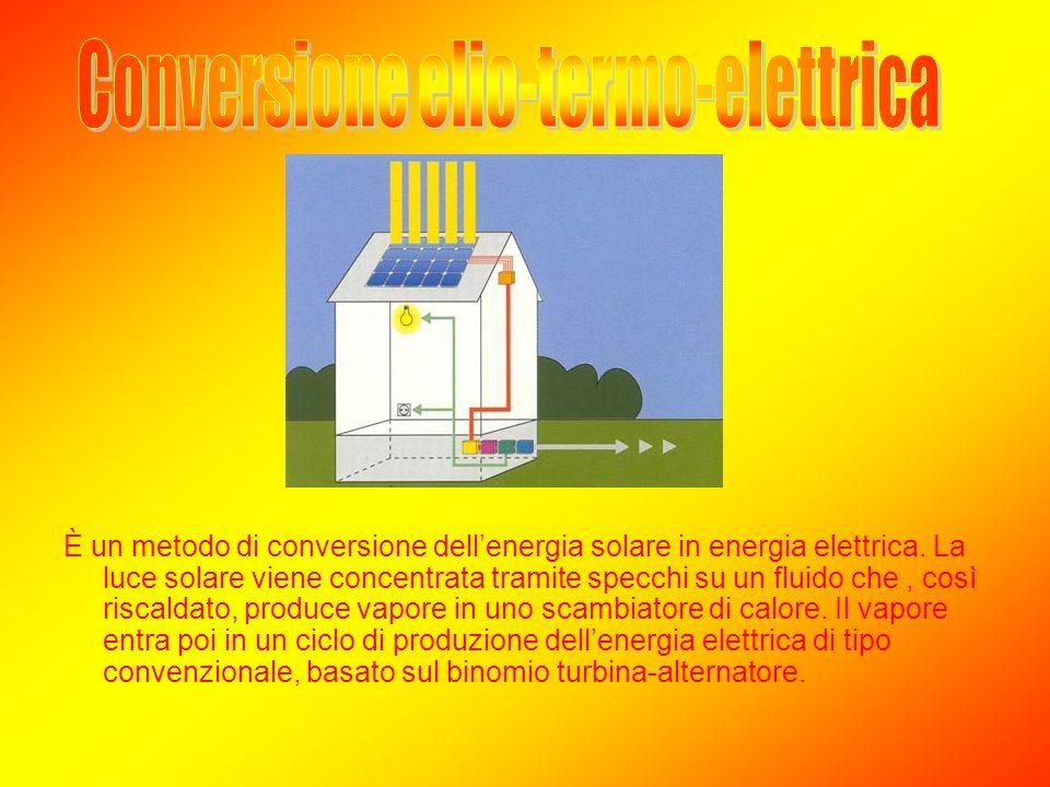 È un metodo di conversione dellenergia solare in energia elettrica. La luce solare viene concentrata tramite specchi su un fluido che, così riscaldato