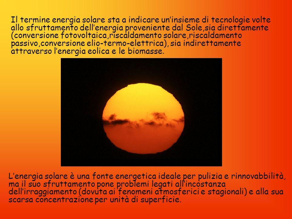 Lenergia solare è un energia elettromagnetica prodotta dal Sole, che raggiunge la Terra in quantità di circa 178000 milioni di milioni di watt (8 terawatt) ogni anno (15000 volte lattuale consumo di energia da parte delluomo).