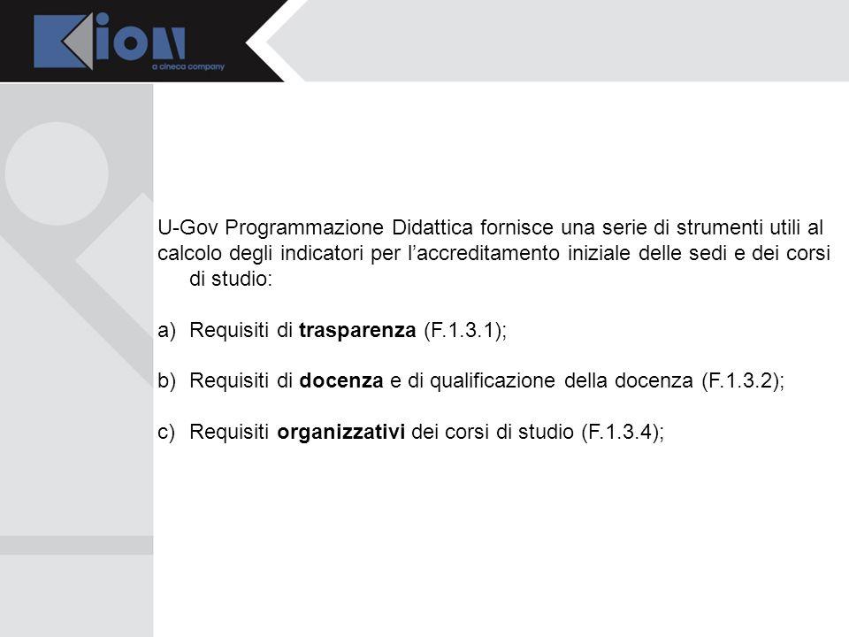 U-Gov Programmazione Didattica fornisce una serie di strumenti utili al calcolo degli indicatori per laccreditamento iniziale delle sedi e dei corsi d