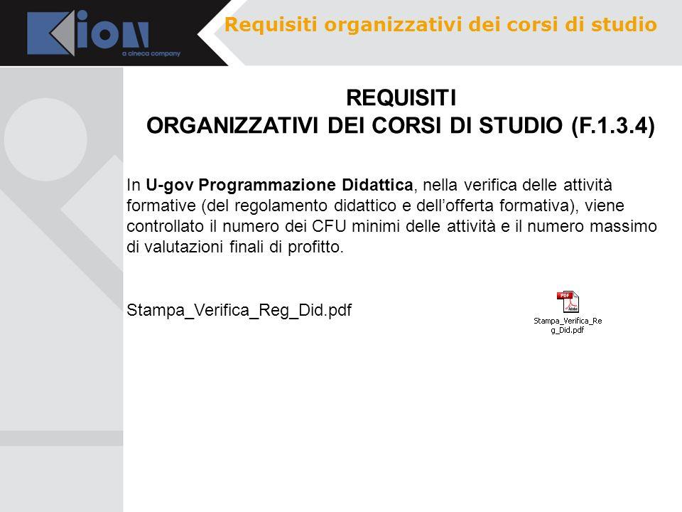 Requisiti organizzativi dei corsi di studio REQUISITI ORGANIZZATIVI DEI CORSI DI STUDIO (F.1.3.4) In U-gov Programmazione Didattica, nella verifica de