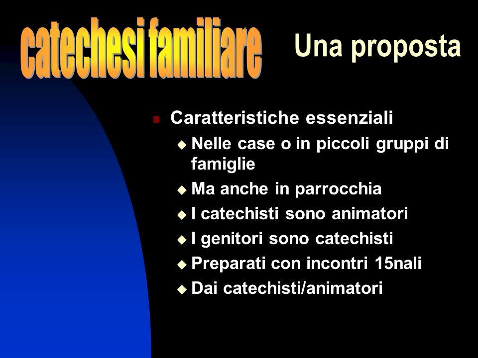 Una proposta Caratteristiche essenziali Nelle case o in piccoli gruppi di famiglie Ma anche in parrocchia I catechisti sono animatori I genitori sono