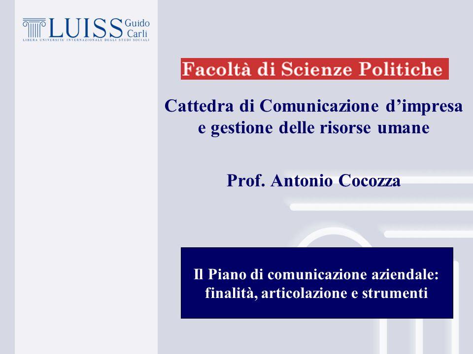 Cattedra di Comunicazione dimpresa e gestione delle risorse umane Prof.