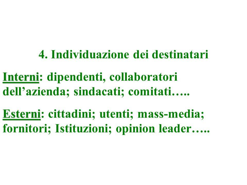 3. Definizione della strategia: obiettivi primari e secondari criteri di priorità tra i pubblici individuazione dei mezzi e dei canali di comunicazion