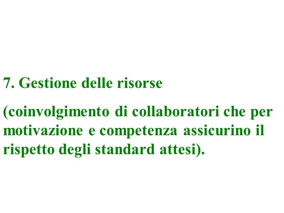 6. Scelta e pianificazione delle azioni e definizione degli standard di risultato.