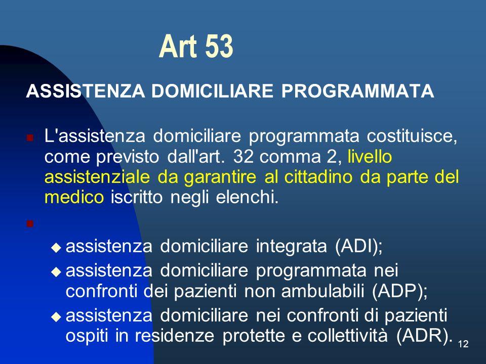 12 Art 53 ASSISTENZA DOMICILIARE PROGRAMMATA L'assistenza domiciliare programmata costituisce, come previsto dall'art. 32 comma 2, livello assistenzia