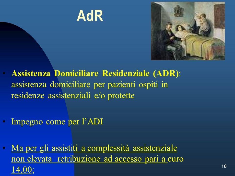 16 AdR Assistenza Domiciliare Residenziale (ADR): assistenza domiciliare per pazienti ospiti in residenze assistenziali e/o protette Impegno come per