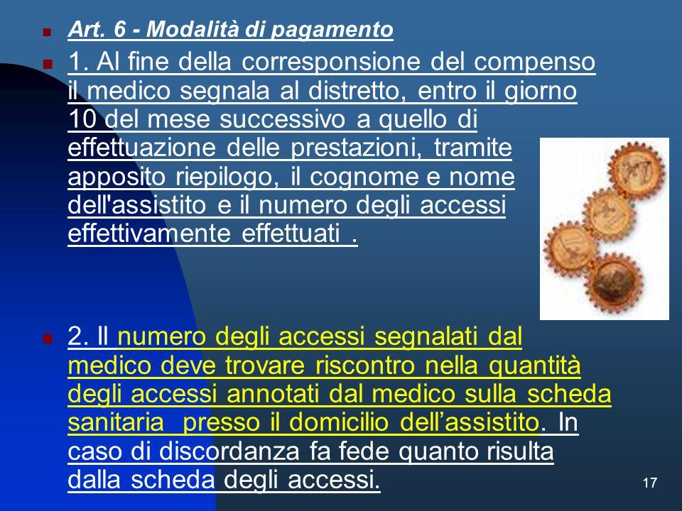 17 Art. 6 - Modalità di pagamento 1. Al fine della corresponsione del compenso il medico segnala al distretto, entro il giorno 10 del mese successivo