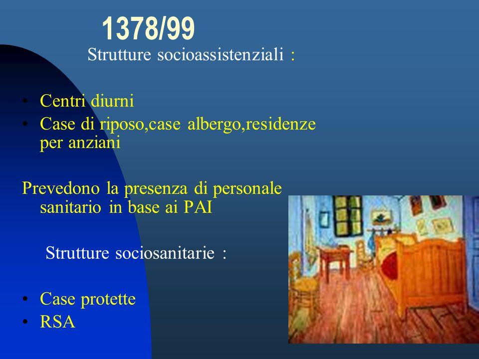 1378/99 Strutture socioassistenziali : Centri diurni Case di riposo,case albergo,residenze per anziani Prevedono la presenza di personale sanitario in