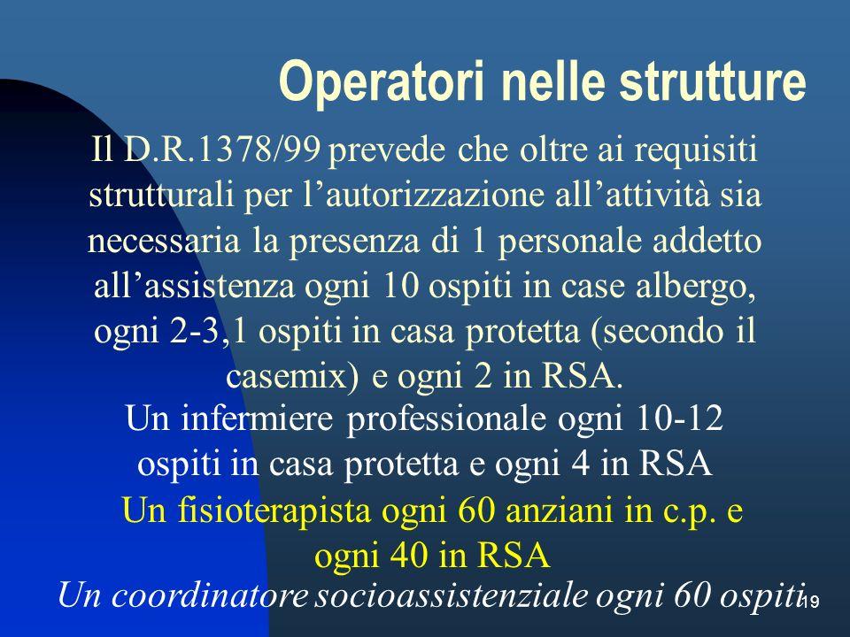 19 Il D.R.1378/99 prevede che oltre ai requisiti strutturali per lautorizzazione allattività sia necessaria la presenza di 1 personale addetto allassi