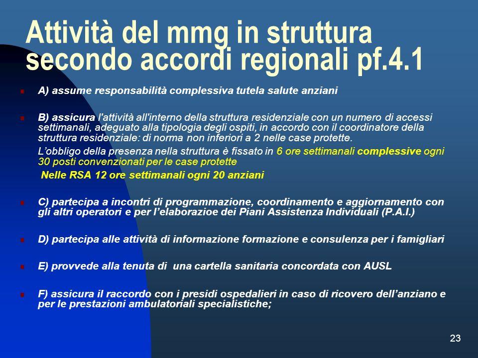 23 Attività del mmg in struttura secondo accordi regionali pf.4.1 A) assume responsabilità complessiva tutela salute anziani B) assicura l'attività al