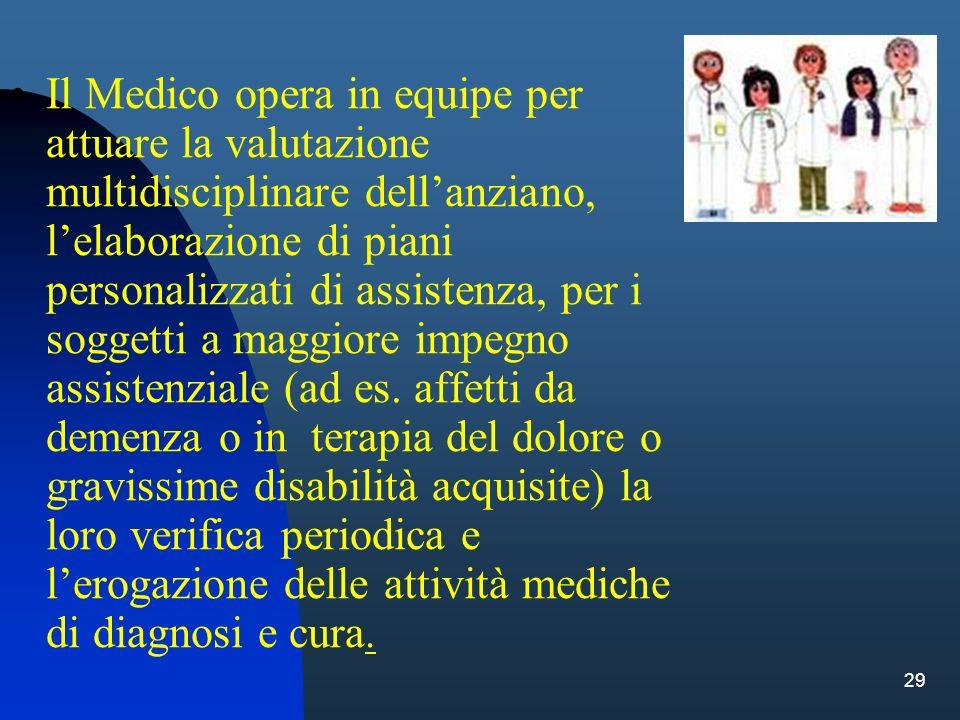 29 Il Medico opera in equipe per attuare la valutazione multidisciplinare dellanziano, lelaborazione di piani personalizzati di assistenza, per i sogg
