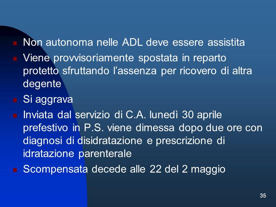 35 Non autonoma nelle ADL deve essere assistita Viene provvisoriamente spostata in reparto protetto sfruttando lassenza per ricovero di altra degente