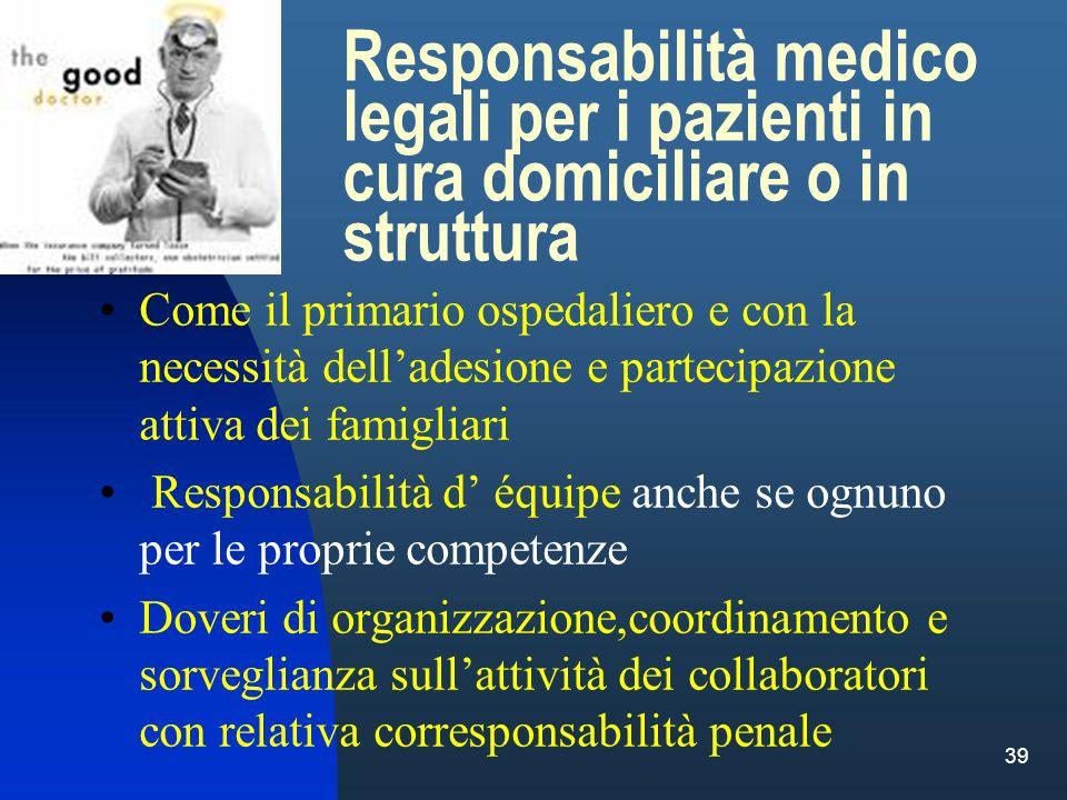 39 Responsabilità medico legali per i pazienti in cura domiciliare o in struttura Come il primario ospedaliero e con la necessità delladesione e parte