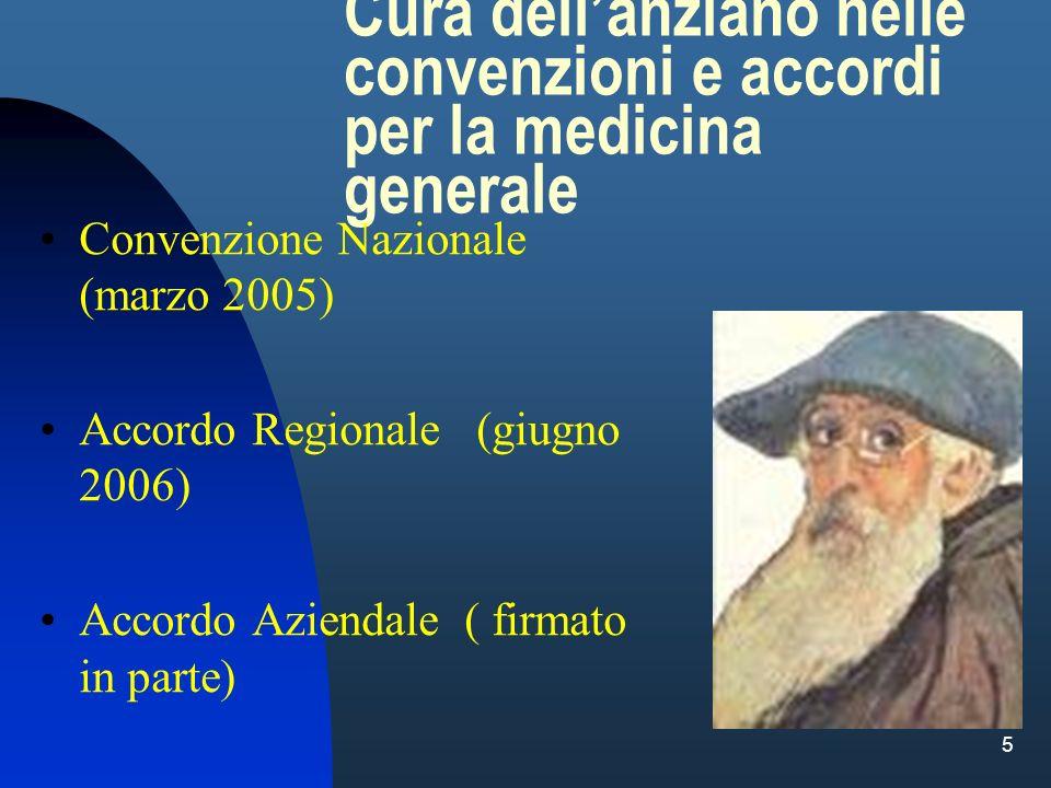 5 Cura dellanziano nelle convenzioni e accordi per la medicina generale Convenzione Nazionale (marzo 2005) Accordo Regionale (giugno 2006) Accordo Azi