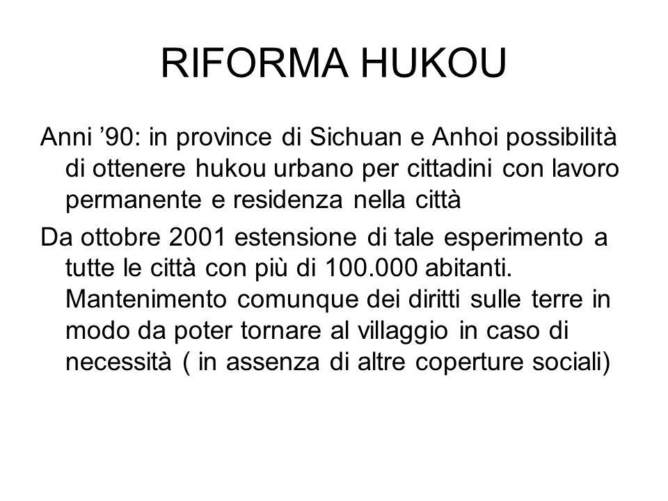 RIFORMA HUKOU Anni 90: in province di Sichuan e Anhoi possibilità di ottenere hukou urbano per cittadini con lavoro permanente e residenza nella città