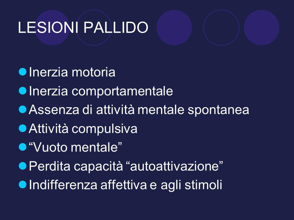 LESIONI PALLIDO Inerzia motoria Inerzia comportamentale Assenza di attività mentale spontanea Attività compulsiva Vuoto mentale Perdita capacità autoa