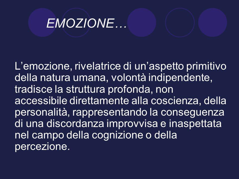 EMOZIONE… Lemozione, rivelatrice di unaspetto primitivo della natura umana, volontà indipendente, tradisce la struttura profonda, non accessibile dire