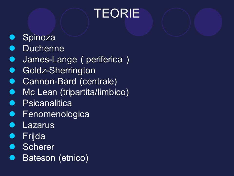 TEORIE Spinoza Duchenne James-Lange ( periferica ) Goldz-Sherrington Cannon-Bard (centrale) Mc Lean (tripartita/limbico) Psicanalitica Fenomenologica
