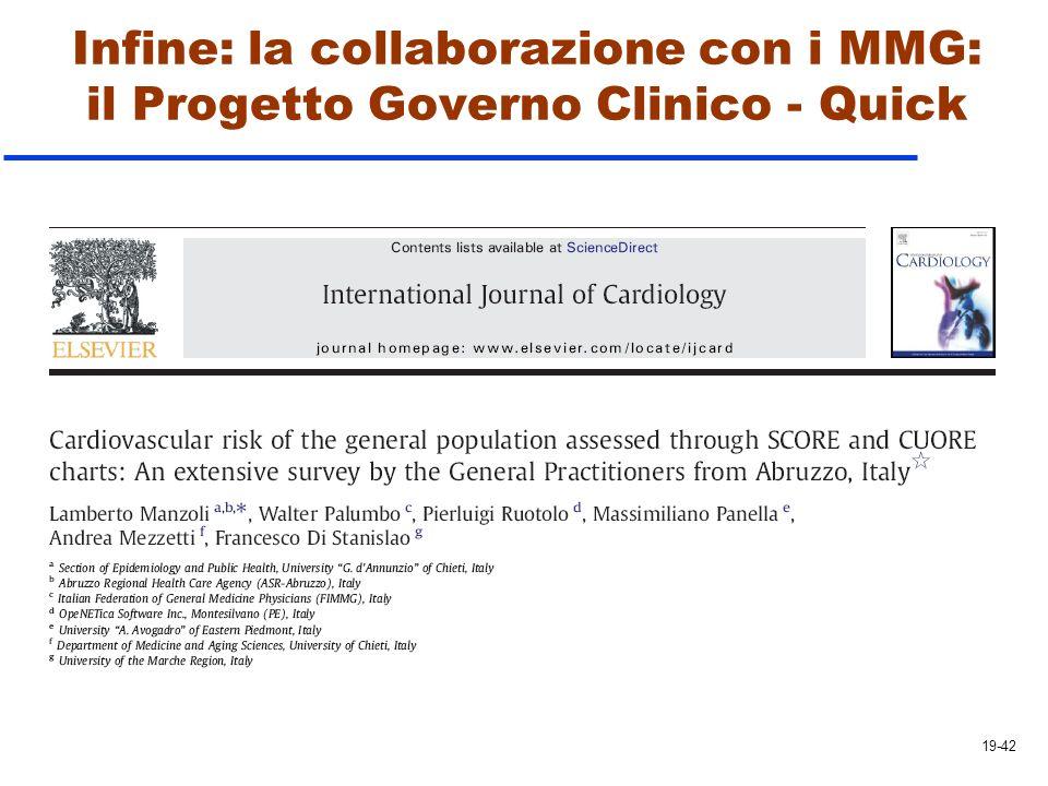 Infine: la collaborazione con i MMG: il Progetto Governo Clinico - Quick 19-42