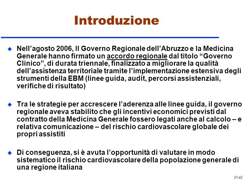 Introduzione u Nellagosto 2006, Il Governo Regionale dellAbruzzo e la Medicina Generale hanno firmato un accordo regionale dal titolo Governo Clinico,