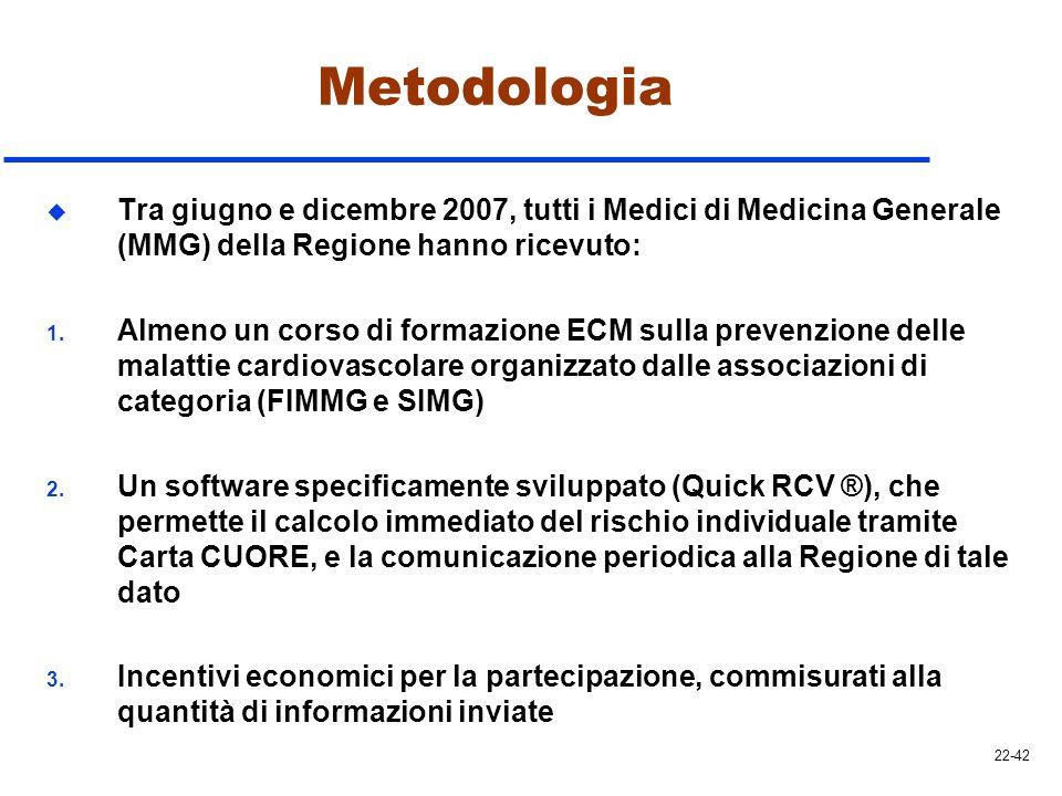 Metodologia u Tra giugno e dicembre 2007, tutti i Medici di Medicina Generale (MMG) della Regione hanno ricevuto: 1. Almeno un corso di formazione ECM