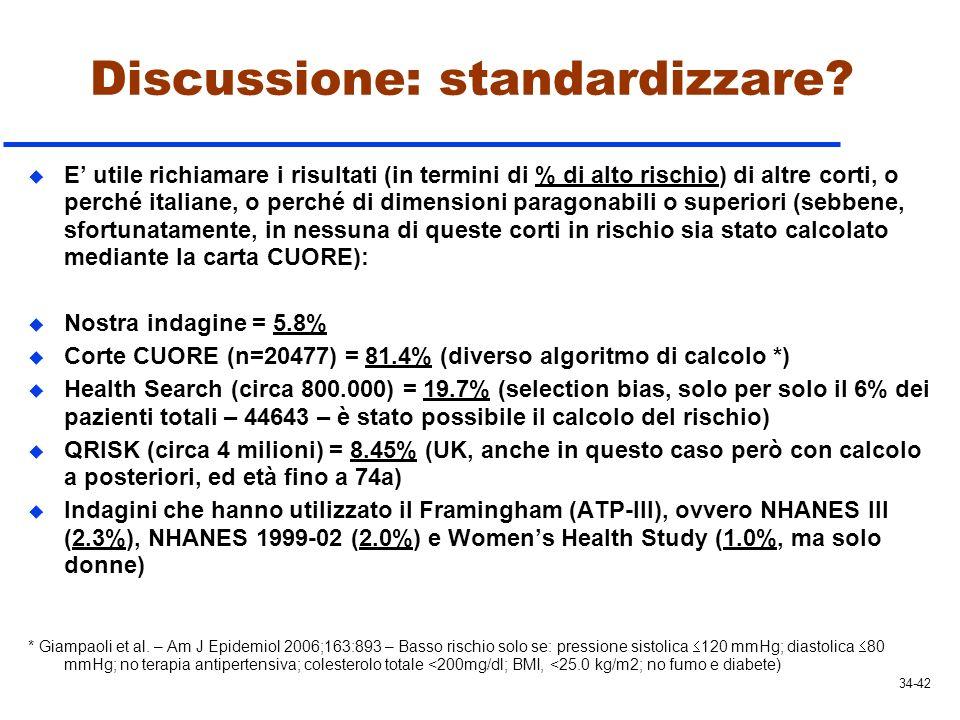 Discussione: standardizzare? u E utile richiamare i risultati (in termini di % di alto rischio) di altre corti, o perché italiane, o perché di dimensi