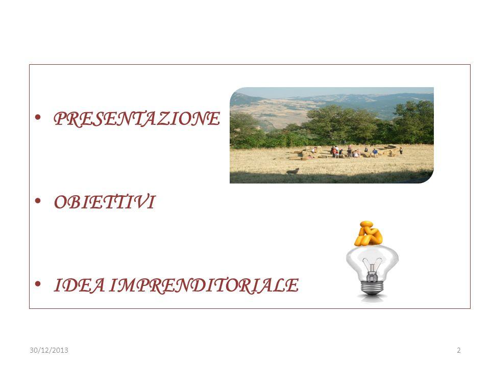 PRESENTAZIONE OBIETTIVI IDEA IMPRENDITORIALE 230/12/2013