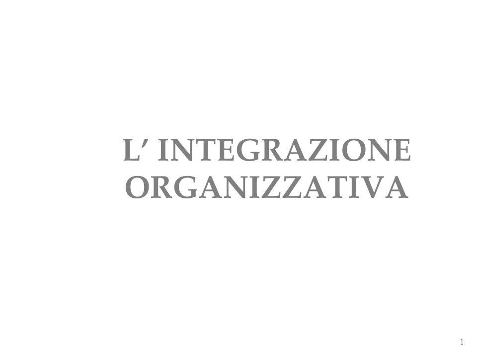 1 L INTEGRAZIONE ORGANIZZATIVA