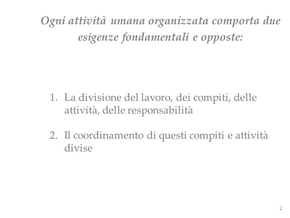 2 Ogni attività umana organizzata comporta due esigenze fondamentali e opposte: 1.La divisione del lavoro, dei compiti, delle attività, delle responsa