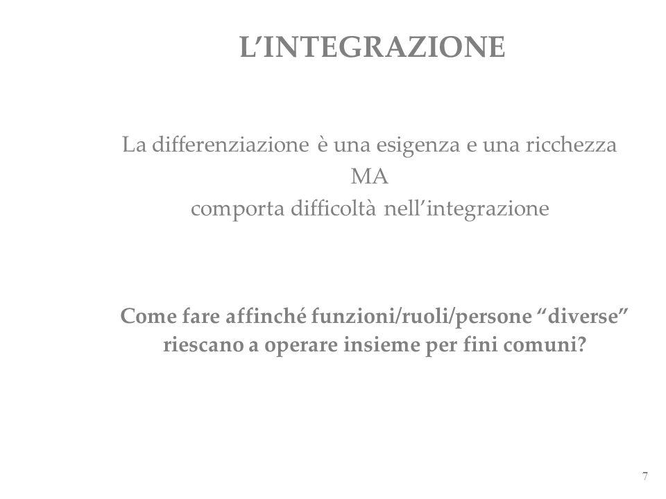 7 La differenziazione è una esigenza e una ricchezza MA comporta difficoltà nellintegrazione LINTEGRAZIONE Come fare affinché funzioni/ruoli/persone d
