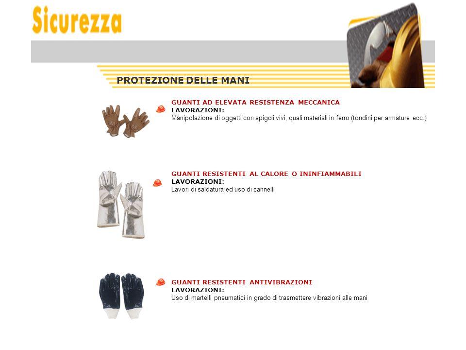 PROTEZIONE DELLE MANI GUANTI AD ELEVATA RESISTENZA MECCANICA LAVORAZIONI: Manipolazione di oggetti con spigoli vivi, quali materiali in ferro (tondini