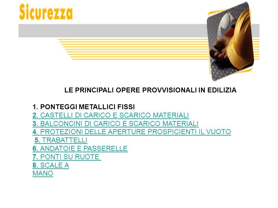 LE PRINCIPALI OPERE PROVVISIONALI IN EDILIZIA 1. PONTEGGI METALLICI FISSI 2. CASTELLI DI CARICO E SCARICO MATERIALI2. CASTELLI DI CARICO E SCARICO MAT