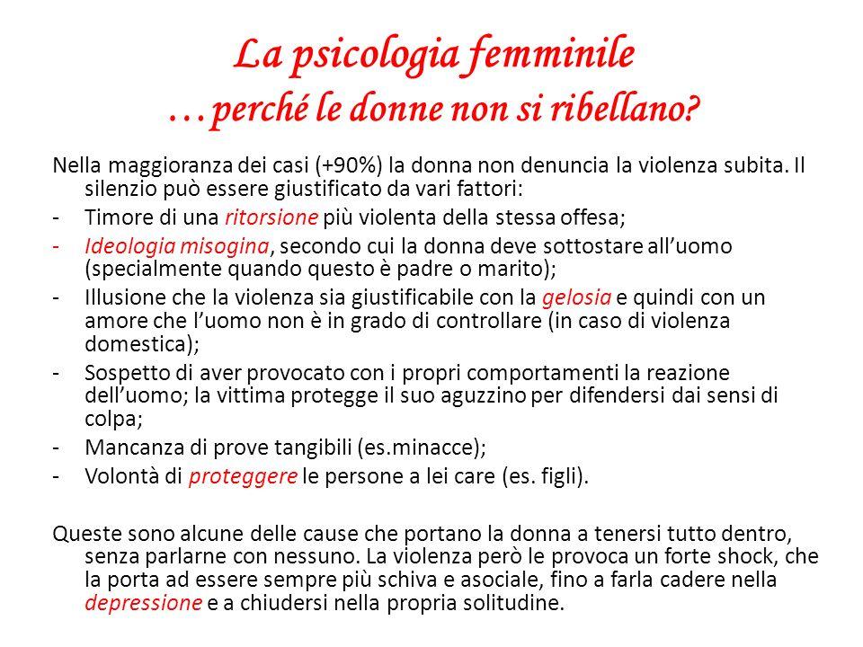 La psicologia femminile …perché le donne non si ribellano? Nella maggioranza dei casi (+90%) la donna non denuncia la violenza subita. Il silenzio può