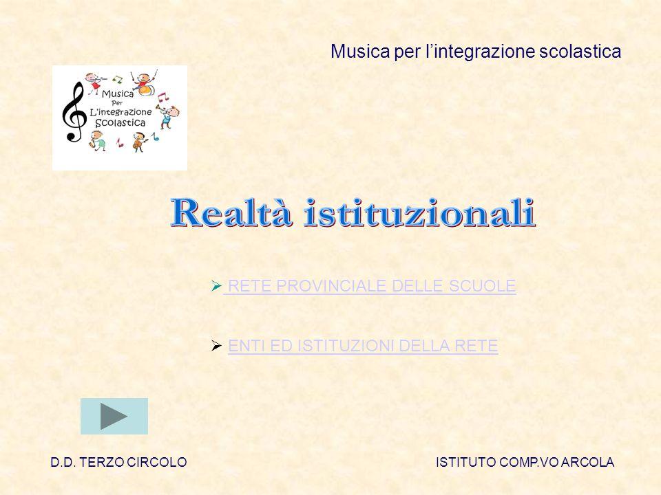 Musica per lintegrazione scolastica RETE PROVINCIALE DELLE SCUOLE ENTI ED ISTITUZIONI DELLA RETE D.D.