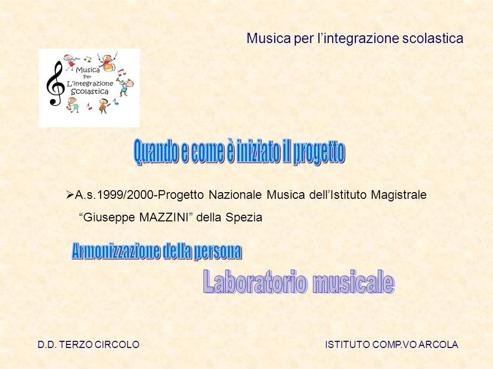 D.D. TERZO CIRCOLOISTITUTO COMP.VO ARCOLA Musica per lintegrazione scolastica A.s.1999/2000-Progetto Nazionale Musica dellIstituto Magistrale Giuseppe