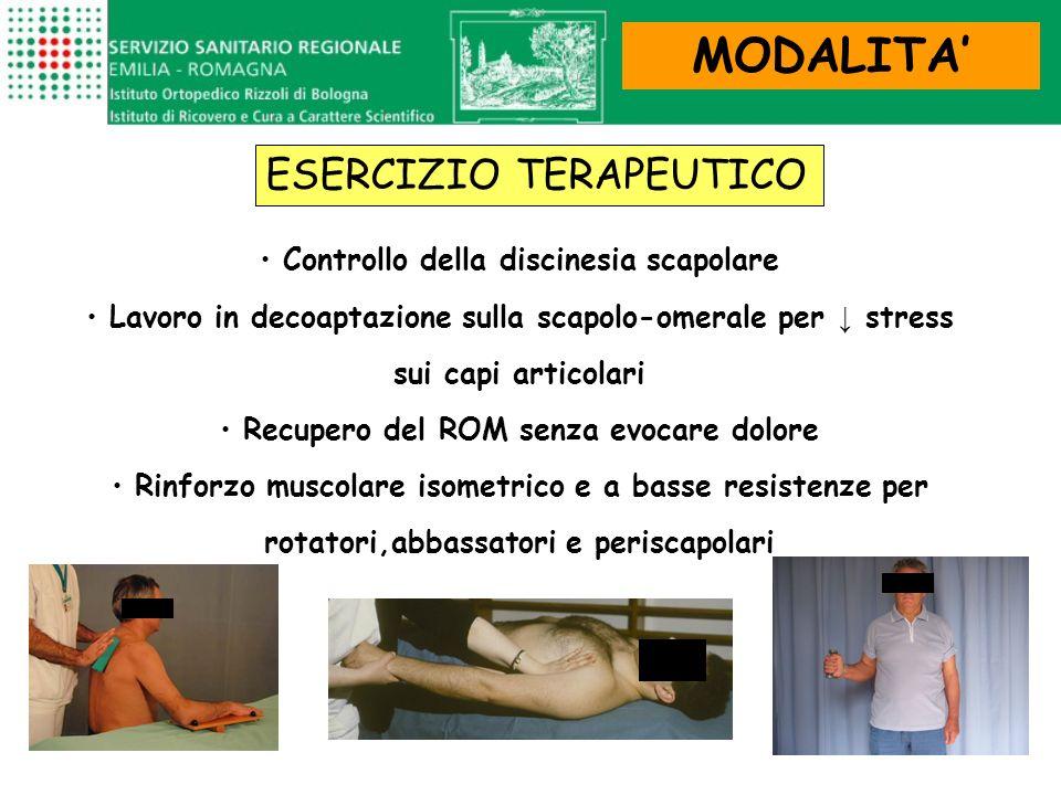MODALITA ESERCIZIO TERAPEUTICO Controllo della discinesia scapolare Lavoro in decoaptazione sulla scapolo-omerale per stress sui capi articolari Recup