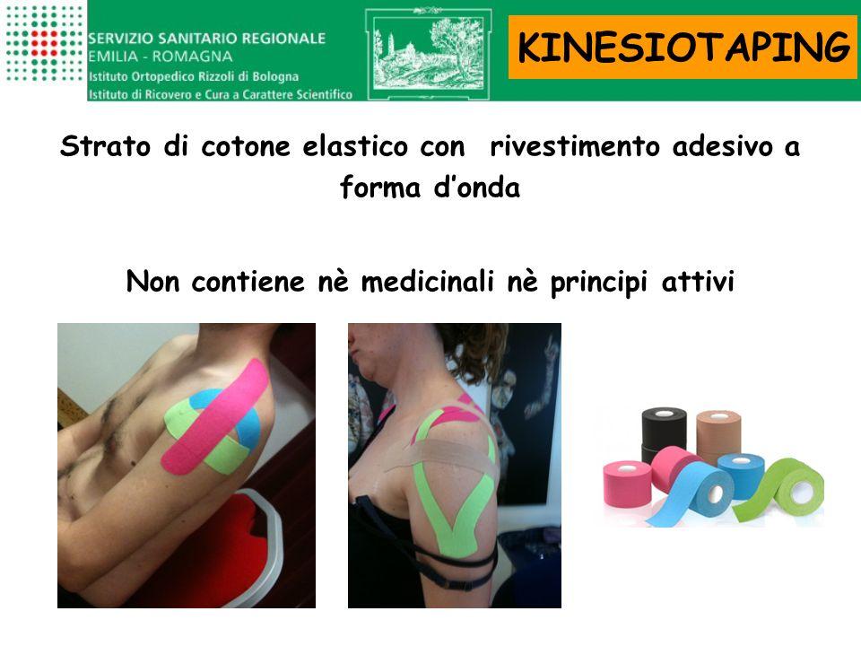 Strato di cotone elastico con rivestimento adesivo a forma donda Non contiene nè medicinali nè principi attivi KINESIOTAPING