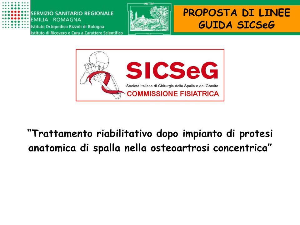 Trattamento riabilitativo dopo impianto di protesi anatomica di spalla nella osteoartrosi concentrica PROPOSTA DI LINEE GUIDA SICSeG