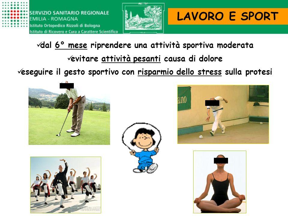 LAVORO E SPORT dal 6° mese riprendere una attività sportiva moderata evitare attività pesanti causa di dolore eseguire il gesto sportivo con risparmio