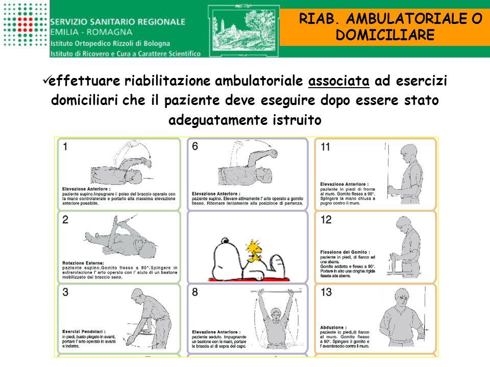 RIAB. AMBULATORIALE O DOMICILIARE effettuare riabilitazione ambulatoriale associata ad esercizi domiciliari che il paziente deve eseguire dopo essere