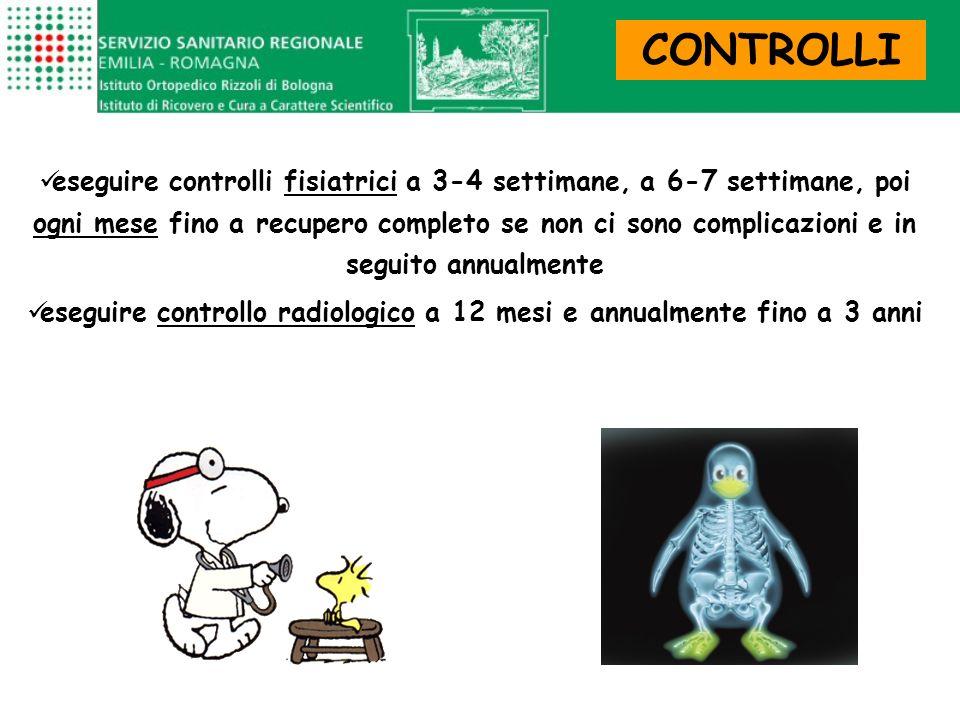 CONTROLLI eseguire controlli fisiatrici a 3-4 settimane, a 6-7 settimane, poi ogni mese fino a recupero completo se non ci sono complicazioni e in seg