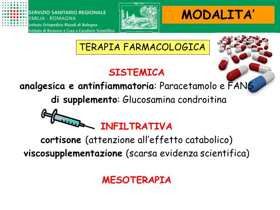 SISTEMICA analgesica e antinfiammatoria: Paracetamolo e FANS di supplemento: Glucosamina condroitina INFILTRATIVA cortisone (attenzione alleffetto cat