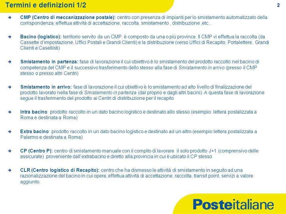 2 Termini e definizioni 1/2 CMP (Centro di meccanizzazione postale): centro con presenza di impianti per lo smistamento automatizzato della corrispond