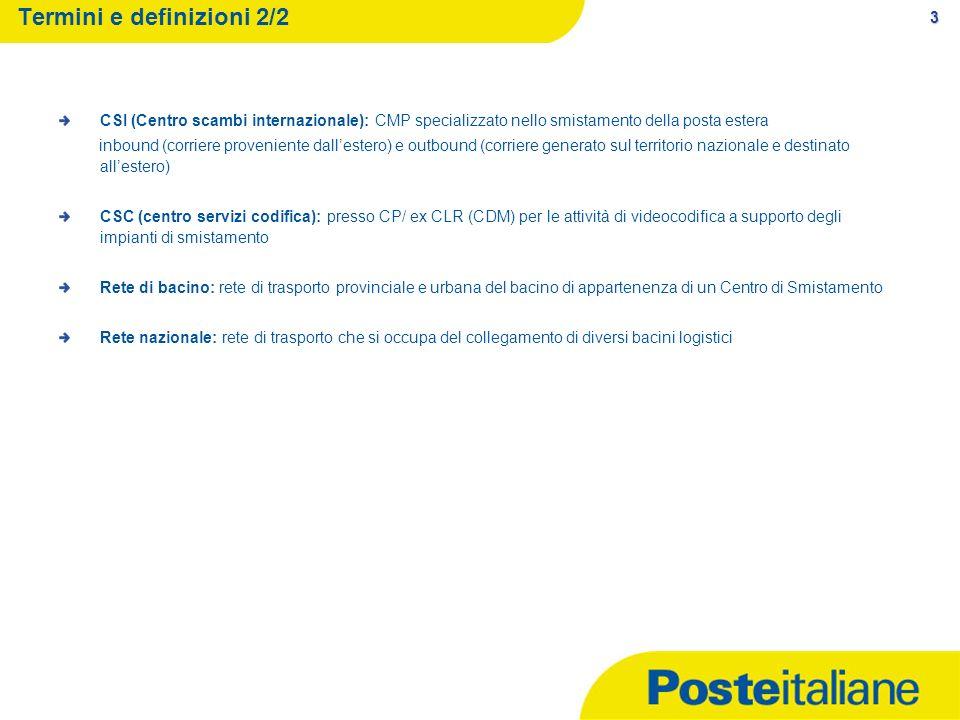 3 Termini e definizioni 2/2 CSI (Centro scambi internazionale): CMP specializzato nello smistamento della posta estera inbound (corriere proveniente d