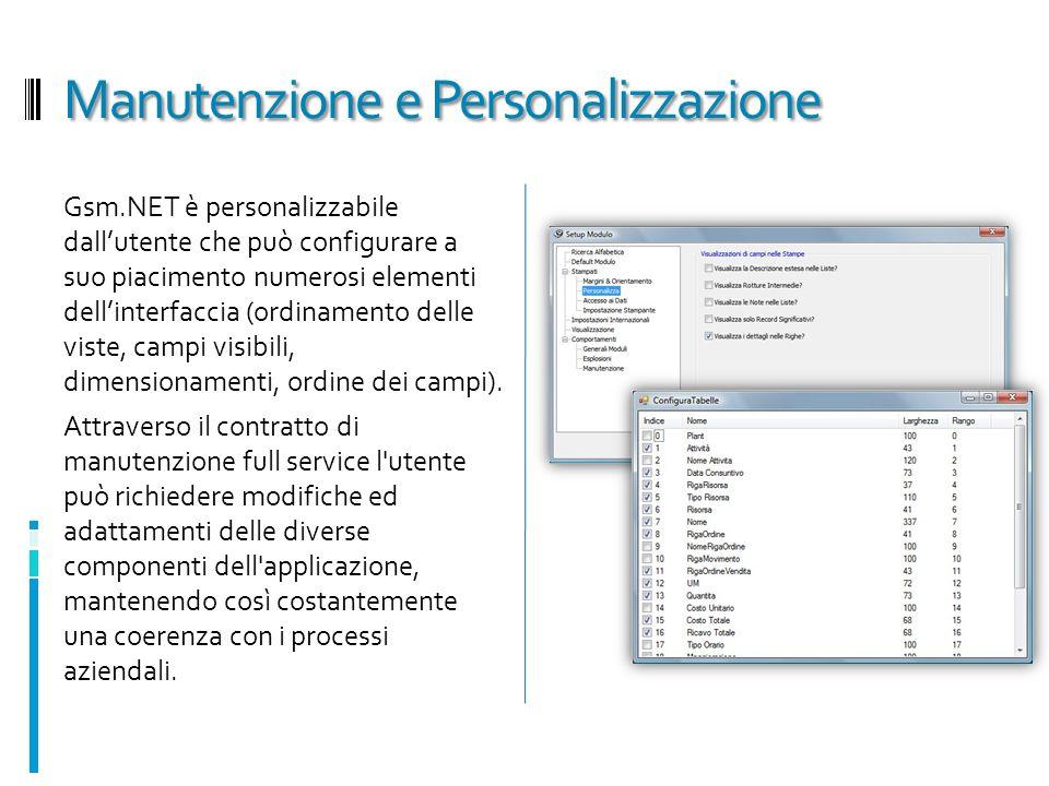 Manutenzione e Personalizzazione Gsm.NET è personalizzabile dallutente che può configurare a suo piacimento numerosi elementi dellinterfaccia (ordinam
