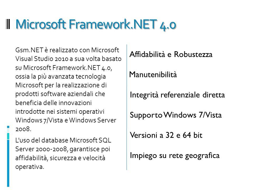 Microsoft Framework.NET 4.0 Gsm.NET è realizzato con Microsoft Visual Studio 2010 a sua volta basato su Microsoft Framework.NET 4.0, ossia la più avan