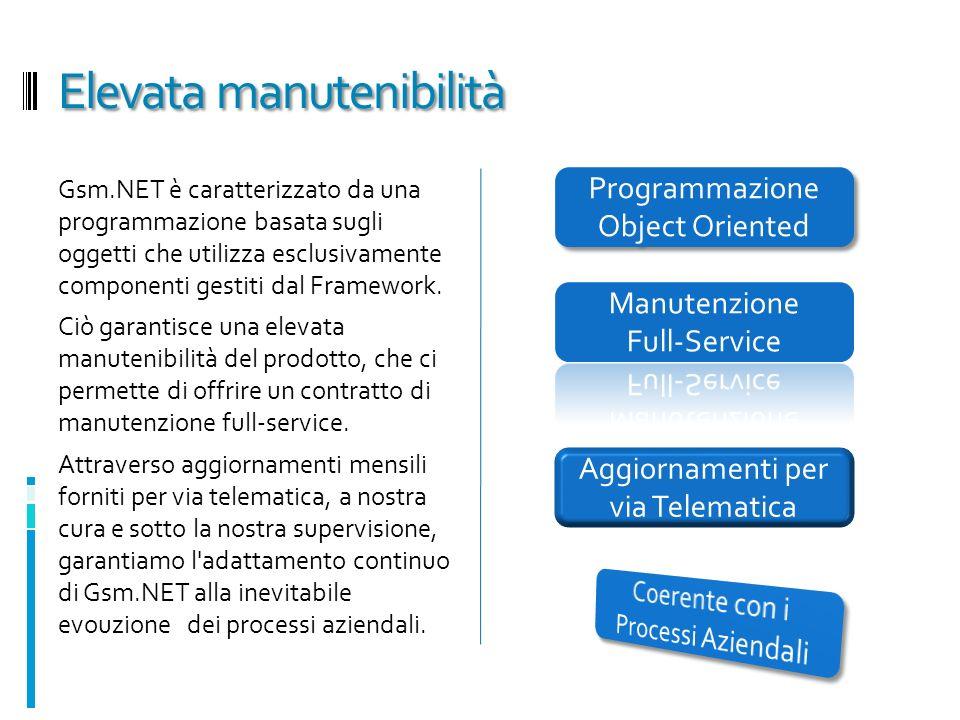 Elevata manutenibilità Gsm.NET è caratterizzato da una programmazione basata sugli oggetti che utilizza esclusivamente componenti gestiti dal Framework.