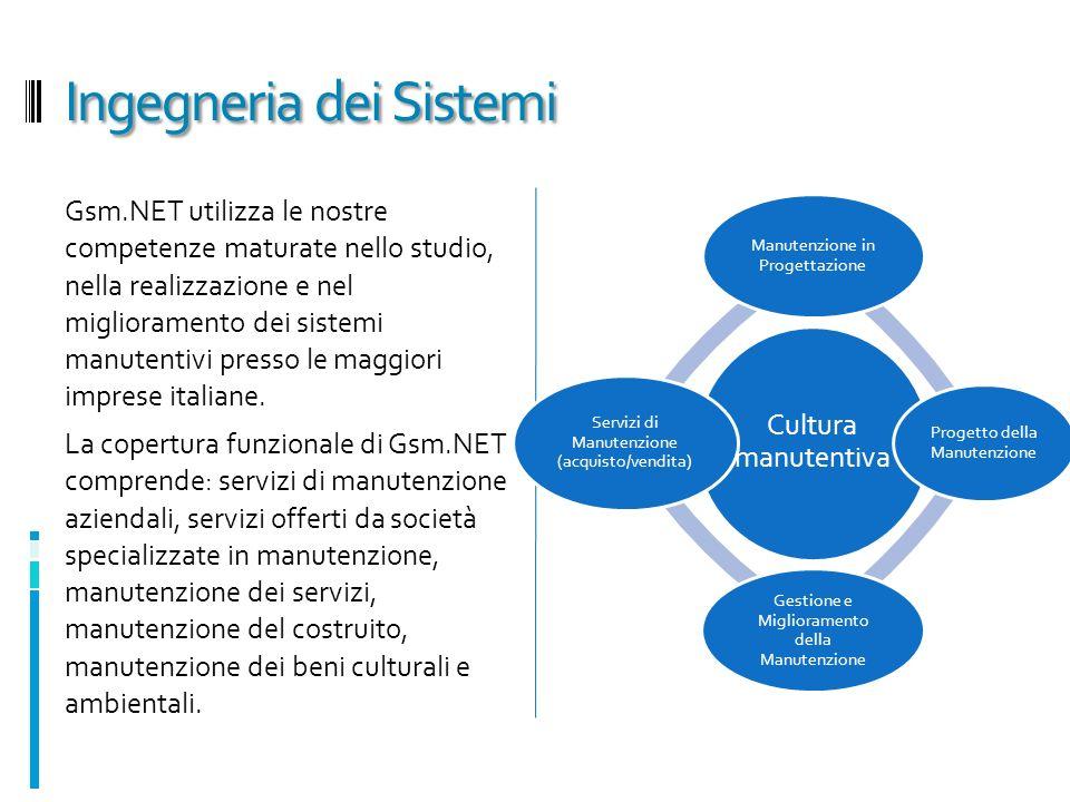 Ingegneria dei Sistemi Gsm.NET utilizza le nostre competenze maturate nello studio, nella realizzazione e nel miglioramento dei sistemi manutentivi presso le maggiori imprese italiane.
