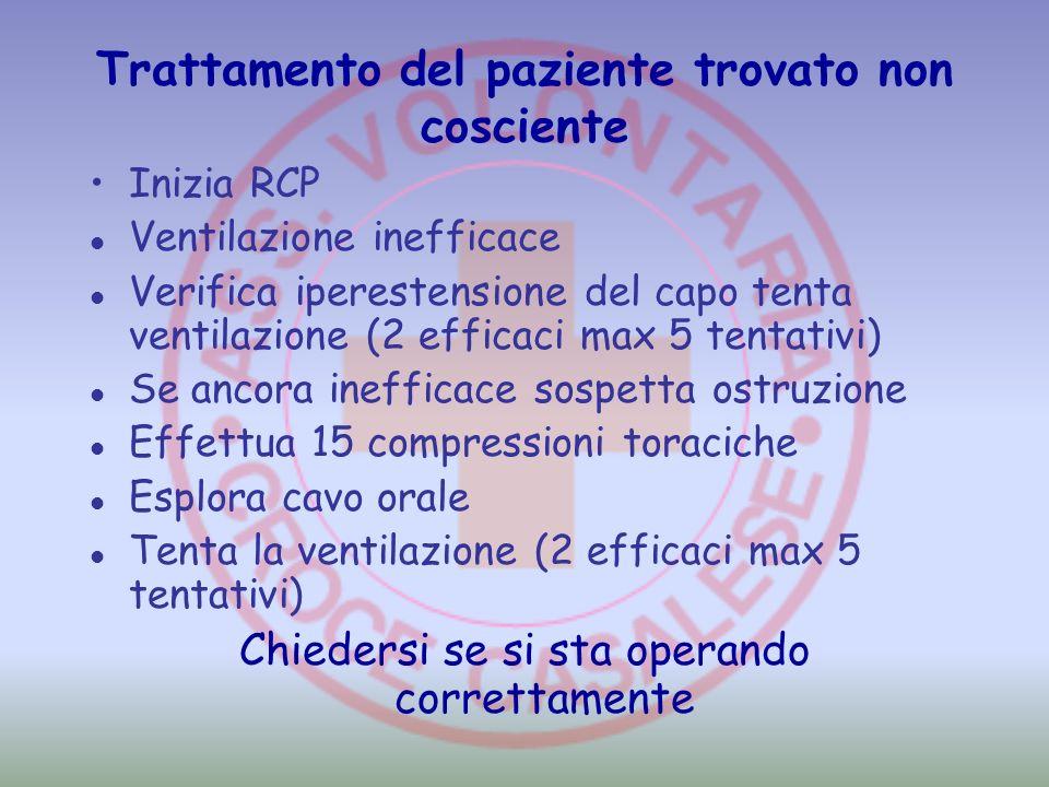 Trattamento del paziente trovato non cosciente Inizia RCP Ventilazione inefficace Verifica iperestensione del capo tenta ventilazione (2 efficaci max